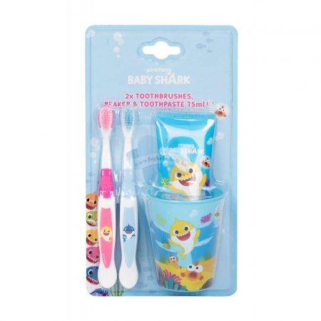 BABY SHARK gyermek szájápoló szett (fogkefe-fogkrém-pohár)