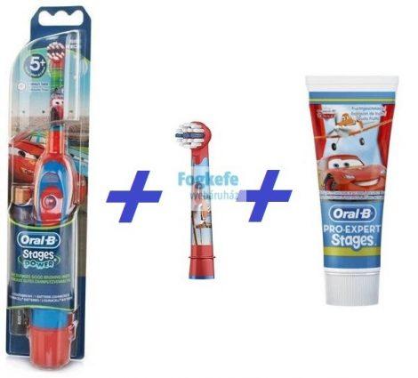 Verdás Csomag I:  Oral-B Stages Power (DB4510K) gyermek elemes fogkefe Cars + 1 db pótkefe + 1 Stages fogkrém