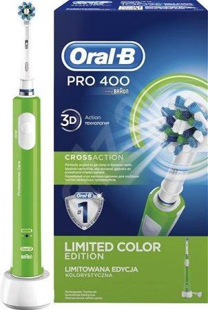 Oral-B PRO 400  D16.  elektromos fogkefe 1 pótkefével ZÖLD + ajándék