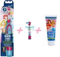 Hercegnő Csomag I: Oral-B Stages Power (DB4510K) gyermek elemes fogkefe Princess + 1 db pótkefe + 1 Stages fogkrém