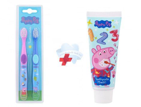 Peppa malac gyerek fogkefe + fogkrém szett Peppa Pig