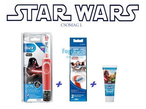 STAR WARS csomag I. : Oral-B D100 Vitality Kids StarWars D100413.2K + pótkefe + fogkrém + ajándék