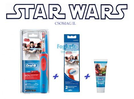 STAR WARS csomag II.  : Braun Oral-B A P 900 gyerek elektromos fogkefe + pótkefe + fogkrém + ajándék