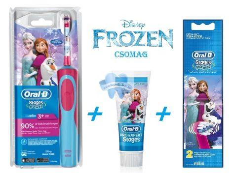 Oral-B JÉGVARÁZS Frozen gyermek elektromos fogkefe + 2db pótkefével, fogkrémmel + ajándék